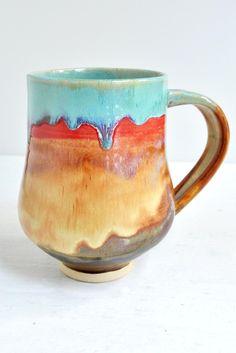 beer stein or large mug in Joyful Blaze from Lee Wolfe Pottery