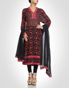 Black suit with overall floral embroidery. Shop Now: www.kimaya.in