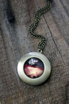 Galaxy Space Locket Necklace Antique Bronze Large por jerseymaids
