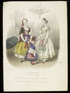 Florensa de Closmenil and Heloïse Leloir. Ethnic fancy-dress costumes for women and child, including a dress based on an Indian sari. Published by Le Bon Ton and dated 1 February 1855 Le Bon Ton. Two women and a small child in ethnic fancy dress costumes. Masquerade Costumes, Masquerade Party, Historical Costume, Historical Clothing, Fancy Dress Costumes For Women, Victorian Fancy Dress, Fancy Dress Ball, Sari Dress, Fantasy Costumes