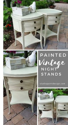 Painted Night End Tables Painted Bedroom Furniture Vintage Painted Furniture Annie Sloan Chalk Paint Distressed DIY Inspired #paintednighttable #paintedendtable #paintedfurniture #diy #distressed #anniesloan #chalkpaint #ideas #inspirationfurniture