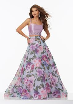Prom Dresses by Morilee  style 99037 size 2. Two-Piece Prom Dress with Floral Printed Organza Skirt and Beaded Larissa Satin Top.