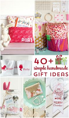 More than 40 ideas for cute handmade gifts. Perfect for Christmas or any other time of the year. Lots of gifts to sew or to craft!