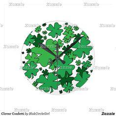 Clover Confetti Round Clock