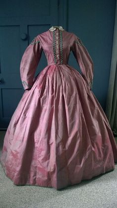 Colourful 1860s Crinoline Dress -Great Condition - Victorian Antique