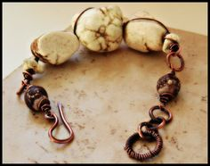 White Turquoise Nugget with African Beads and Pure Copper Bracelet - Rustic Copper Jewelry - Gemstone Bracelet on Etsy, $54.30