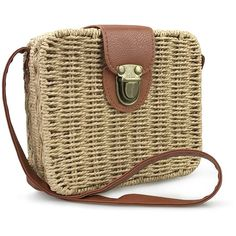 Hoxis Retro Straw Portable Small Box Woven Womens Cross Body Bag... (€19) ❤ liked on Polyvore featuring bags, handbags, shoulder bags, crossbody satchel, brown satchel, satchel crossbody bag, brown crossbody and satchel purses