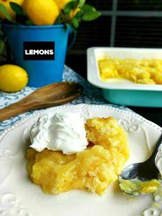 Lemon Pudding Cobbler Dessert Recipe - SewLicious Home Decor Lemon Dessert Recipes, Lemon Recipes, Sweet Recipes, Pie Recipes, No Bake Banana Pudding, Cobbler Topping, Baked Banana, Dessert Dishes, Homemade Cakes