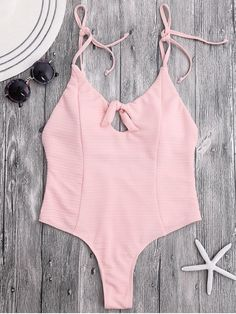 AD : Tied High Cut Ribbed Thong Swimsuit - SHALLOW PINK   Swimwear Type: One Piece   Gender: For Women   Material: Chinlon,Spandex   Bra Style: Padded   Support Type: Wire Free   Collar-line: Spaghetti Straps   Pattern Type: Solid Color   Waist: Natural   Elasticity: Elastic   Weight: 0.2700kg   Package: 1 x Swimwear