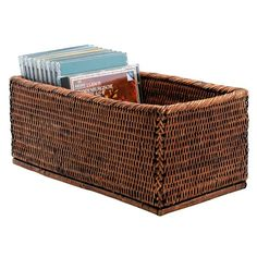 storage boxes for home    Rattan CD storage box from Oka   CD storage   Living room storage ...