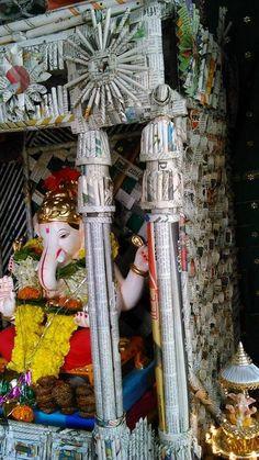 Get eco-friendly Ganpati decoration ideas for home Ganpati. Discover DIY Ganpati decoration crafts ideas and simple Ganpati makhar and idol decoration ideas Decor Crafts, Home Crafts, Diy Home Decor, Arts And Crafts, Diy Crafts, Eco Friendly Ganpati Decoration, Ganpati Decoration Design, Festival Decorations, Paper Decorations