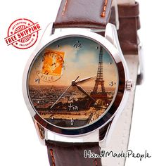 Check out Vintage Paris Stamp Watch, Retro Paris Women Watch, Watches for Women, Ladies Watches, Tour Eiffel Wrist Watch, Gift Ideas - Free Shipping on handmadepeople