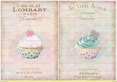 Vintage Cupcake Kuchen french Paris 6 A4