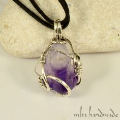 Amethyst Point Crystal Necklace 925 Sterling Silver Wire Wrapped Artisan Jewelry #MBAHandmade #Wrap
