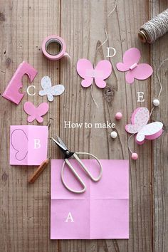 Discover thousands of images about How to Make Easy DIY Paper Butterflies Paper Butterflies, Paper Flowers Diy, Diy Paper, Paper Crafting, Paper Flower Garlands, Paper Art, Butterfly Party, Butterfly Crafts, Butterfly Mobile