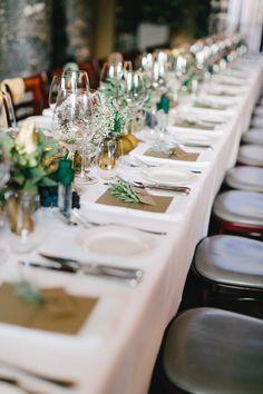 Wedding long dinner table, herbs, gold, wedding in Vienna,. Botanical Wedding, Wedding Stationary, Dinner Table, Wedding Centerpieces, Planer, Table Settings, Table Decorations, Vienna, Gold Wedding