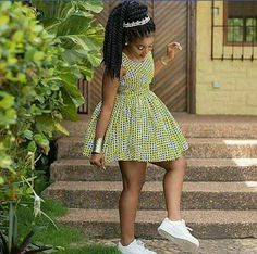 Sleeveless Short African Print Dress and White Sneakers African Dresses For Kids, Latest African Fashion Dresses, African Dresses For Women, African Print Dresses, African Print Fashion, Africa Fashion, African Attire, African Print Jumpsuit, White Sneakers