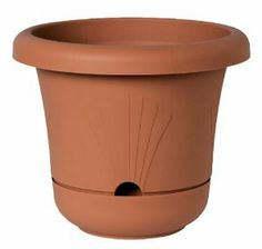 Fiskars 448141-1001 Self Watering Planter, 14.4-Inch, Clay by Fiskars. $12.99. 100-percent recyclable. Excellent drainage reservoir to trap water and keep it away from plants roots. Bell-shaped silhouette design with internal drainage. Lightweight alternative to ceramic pottery. Self-watering disk helps prevent damaging root rot and helps allow oxygen to easily access plant roots. Ideal for indoor or outdoor container gardening, this resin planter is a tough, l...