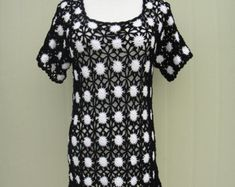 Black and White Polka Dot Crochet Crochet Womens Blouse Short Sleeve