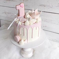 7 Step Wedding Cake – All Cakes 1st Birthday Cake For Girls, 90th Birthday Cakes, 85th Birthday, Princess Birthday, Girly Cakes, Baby Girl Cakes, Cake Sizes, Drip Cakes, No Bake Cake
