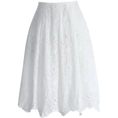 Chicwish Pure White Embroidered Skirt (53 CAD) ❤ liked on Polyvore featuring skirts, white, white knee length skirt, eyelet skirt, cotton skirt, embroidered skirt and white skirt