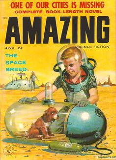 A 1950s vision of life with pets in space.