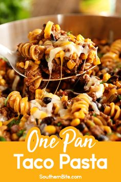 This One-Pan Taco Pasta makes it quick and easy to get a home cooked meal on the table on a busy weeknight. It calls for less than 10 ingredients and cooks in less than 30 minutes! And everything cooks in one pan - even the pasta! Mexican Food Recipes, Beef Recipes, Chicken Recipes, Dinner Recipes, Cooking Recipes, Ethnic Recipes, Yummy Recipes, Taco Pasta Recipes, Dinner Ideas