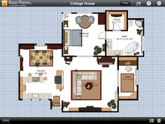 Fascinating Cottage House Plans Using Room Planner App Displaying Master  Bedroom With Bathroom Involved Living