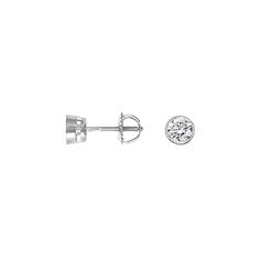 18KT White Gold round bezel milgrain diamond studs with screw-on backings (1/2 ct TW) from Brilliant Earth