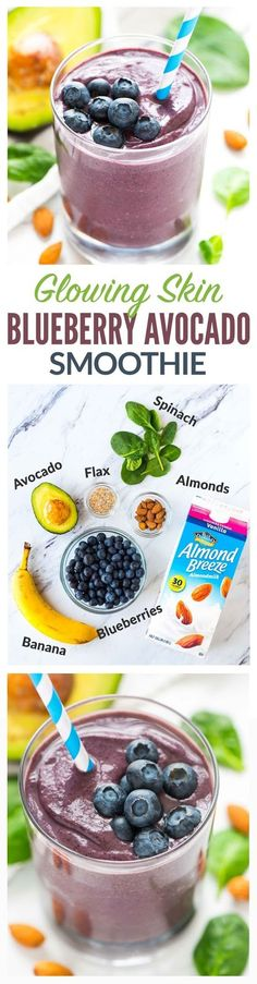 Hydrating Blueberry Avocado Banana Smoothie for glowing skin! With antioxidants and healthy fats from ingredients like spinach blueberries almond milk avocados and flax this green smoothie is DELICIOUS and a natural way to promote beauty and health. Healthy Shakes, Healthy Fats, Healthy Drinks, Healthy Recipes, Healthy Breakfasts, Healthy Skin, Free Recipes, Smoothies Vegan, Smoothie Drinks