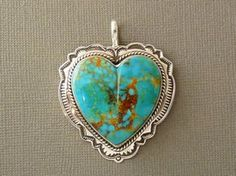 Sterling Silver Turquoise Heart Pendant by Mike Thompson, Navajo for $379.00 | Sterling Silver Jewelry | Native American Jewelry