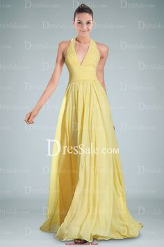 Stylish Halter Evening Dress Featuring Plunging Neckline and Draped Skirt