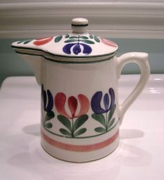 Lidded Pottery Tulip Pitcher, Made in Germany
