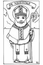 Printable pictures of St. Nicholas for children to color.