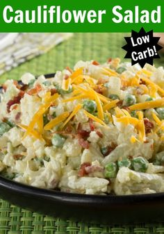 This Cauliflower Salad sort of tastes like a faux, loaded potato salad but it's low-carb!