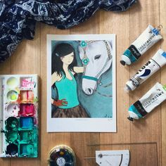 Modern fashion illustration of a girl who loves and cares deeply for her pet… Modern Fashion, Modern Art, Illustration Art, Scene, Horses, Pets, Ali, How To Make, Internet