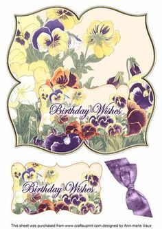 Pansies Birthday Wishes 8in Large Blooms Fancy Topper on Craftsuprint - Add To…