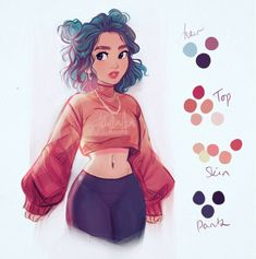 Yay I got a little time to sketch yesterday 😅 Pretty Girl Drawing, Girl Hair Drawing, Girl Drawing Sketches, Cool Art Drawings, Cartoon Drawings, Drawing Art, Cartoon Art Styles, Cute Art Styles, Cartoon Hair