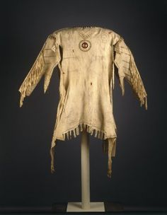 Yanktonai, Nakota, Sioux (Native American). Decorated Shirt, early 19th century. Buckskin, porcupine quills, glass beads, pigment, sinew, 59 x 41 x 16 in. (149.9 x 104.1 x 40.6 cm). Brooklyn Museum, Henry L. Batterman Fund and Frank Sherman Benson Fund, 50.67.3a. Creative Commons-BY (Photo: Brooklyn Museum, 50.67.3a_SL1.jpg)