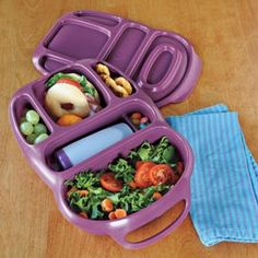 This is my kind of Lunch Box...Divided sections keep foods separate; there's even one that holds the reusable 8-oz. drink bottle.