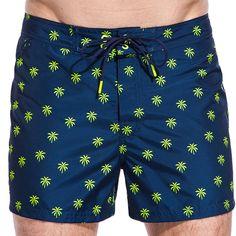 Nessere Men Casual Print Mid Waist Shorts Quick-Drying Swim Trunks Beachwear Board Shorts