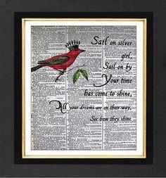 Sail on Silver Girl Quote Red Cardinal Bird Bird by sherryannshop