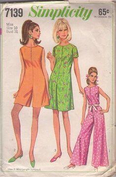 MOMSPatterns Vintage Sewing Patterns - Simplicity 7139 Vintage 60's Sewing Pattern FANTASTIC Mod Twiggy Scooter Skirt Pantdress, Romper, Palazzo Leg Hostess Jumpsuit