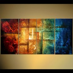 Original abstract art paintings by Osnat - red yellow blue modern painting
