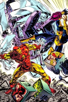 oncomics:  comicblah:  Marvel Super-Heroes Megazine #3 cover by Michael Golden  I love the original red and gold armor when drawn well. Like this.