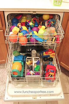 Use the dishwasher to de-germ things.  Use lingerie bags or those baby bottle cages for Legos & other small toys.: