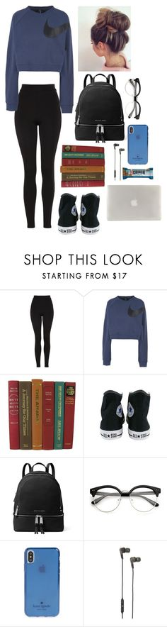 """Trip to the library"" by gussied-up on Polyvore featuring Topshop, NIKE, Converse, MICHAEL Michael Kors, Kate Spade, B&O Play and Tucano"
