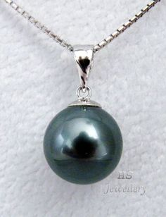 HS Black #Tahitian South Sea Cultured #Pearl 11.5mm 18KWG #Pendant Top #Jewelry #Thanksgiving #Christmas #Birthday