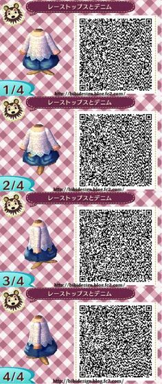 When I found this, I found the cutest summer/spring outfit QR i have ever found! It's so hard to find QRs with shorts! Credit goes to: http://bibidesign.blog.fc2.com/blog-entry-197.html They have A LOT of awesome designs on their website so check them out :) <3 Animal Crossing New Leaf ACNL Shorts Lace Top Summer Spring Outfit