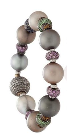 A CULTURED PEARL, GEM-SET AND DIAMOND BRACELET, BY MICHELE DELLA VALLE